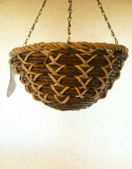 +White+Maize+with+Bamboo+Rope+12%22+Round+Bottom+Designer+Hanging+Basket+PAIR+OFFER%2E+Postage+FREE+