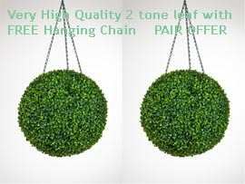 1+x+Pair+of+Hanging+Artificial+Boxwood+Topiary+Balls%96+36cms+++%2D++High+quality+two%2Dtone+leaf++COMPLETE+with+strong+hanging+chain+with+removable+clips+if+you+wish+to+use+in+pots+or+containers%2E
