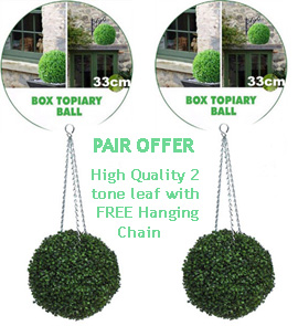 1+x+pair+of+Artificial+Boxwood+Topiary+Balls+%96+33cms+%2813+in%92%92%29++%2D++High+quality+two%2Dtone+leaf+for+pots+and+containers%2E+Also+supplied+with+FREE+strong+hanging+chains+with+removable+clips+if+you+wish+to+use+as+hanging+balls