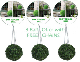 3+x+Artificial+Boxwood+Topiary+Balls+%96+33cms+%2813+in%92%92%29++%2D++High+quality+two%2Dtone+leaf+for+pots+and+containers%2E+Also+supplied+with+FREE+strong+hanging+chains+with+removable+clips+if+you+wish+to+use+as+hanging+balls