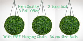 Set+of+3+of+Hanging+Artificial+Boxwood+Topiary+Balls%96+36cms+++%2D++High+quality+two%2Dtone+leaf++COMPLETE+with+strong+hanging+chain+with+removable+clips+if+you+wish+to+use+in+pots+or+containers%2E