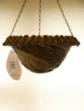 Moss+Green+%26+Earthy+Toned+Rope+14%22+Round+Cone+Hanging+Basket+PAIR+OFFER%2E++Postage+FREE