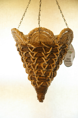 Corn+Leaf+%26+Bamboo+Rope+12+%22+Petal+Top+Round+Cone+Designer+Hanging+Basket+PAIR+OFFER%2E+Postage+FREE