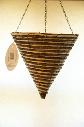 Light+Cream+Maize+and+Bamboo+Weave+12%22+Round+Cone+Hanging+Basket+PAIR+OFFER%2E+Postage+FREE