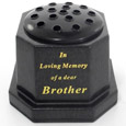 GRAVE VASE BLACK IN LOVING MEMORY OF A DEAR BROTHER