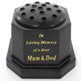 GRAVE VASE BLACK IN LOVING MEMORY OF A DEAR MUM AND DAD