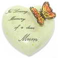 8cm POLYRESIN HEART - IN LOVING MEMORY OF A DEAR MUM