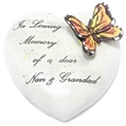 8cm POLYRESIN HEART - IN LOVING MEMORY OF A DEAR NAN AND GRANDAD