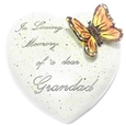 8cm POLYRESIN HEART - IN LOVING MEMORY OF A DEAR GRANDAD