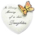 8cm POLYRESIN HEART - IN LOVING MEMORY OF A DEAR DAUGHTER