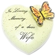 8cm POLYRESIN HEART - IN LOVING MEMORY OF A DEAR WIFE