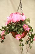 Artificial Hanging Basket  - Hot Pink Surfinia, Ivy, Cyclamen, Million Bells. Inside or Outside Use - Just Hang and Enjoy.