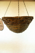 "Moss Green & Earthy Bamboo Rope 12"" Round Bottom Designer Hanging Basket PAIR OFFER. Postage FREE"