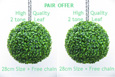 Pair Offer of Hanging Artificial Boxwood Topiary Balls – 28cms (11 in'')  -  High quality two-tone leaf  COMPLETE with strong hanging chain with removable clips if you wish to use in pots or containers.