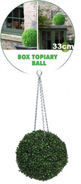 Artificial Boxwood Topiary Ball – 33cms (13 in'')  -  High quality two-tone leaf for pots and containers. Also supplied with FREE strong galvanised hanging chain with removable clips if you wish to use as a hanging ball.