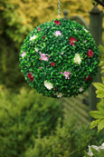 NEW PRODUCT 1 X Flowering Hanging Artificial Boxwood Topiary Ball in Plum and Cream Shades – 36cms (14 inch)  -  High quality two-tone leaf  COMPLETE with strong hanging chain with removable clips if you wish to use in pots or containers.