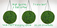 Set of 3 of Hanging Artificial Boxwood Topiary Balls– 36cms   -  High quality two-tone leaf  COMPLETE with strong hanging chain with removable clips if you wish to use in pots or containers.