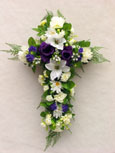 Silk Rose & Lily Cross - Memorial-Funeral Tribute
