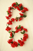 3x Artificial Flower Garlands in Red Roses and Refreshing Green Leaf Detail (150cm long and 30+ Flowers - 5Ft)