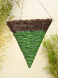 Designer Pair Offer Brushwood & Green Maize Triangular Cone Shaped Hanging Baskets