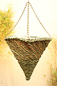 "Water Hyacinth and Palm Leaf 12"" Square Cone Hanging Basket PAIR OFFER.  Postage FREE"