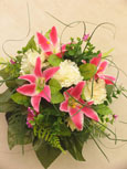 Silk Rose & Lily Posy Wreath - Memorial-Funeral Tribute